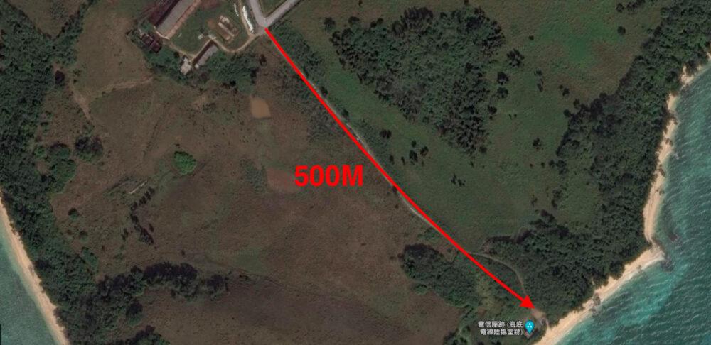 電信屋跡地の進入ルート500メートル