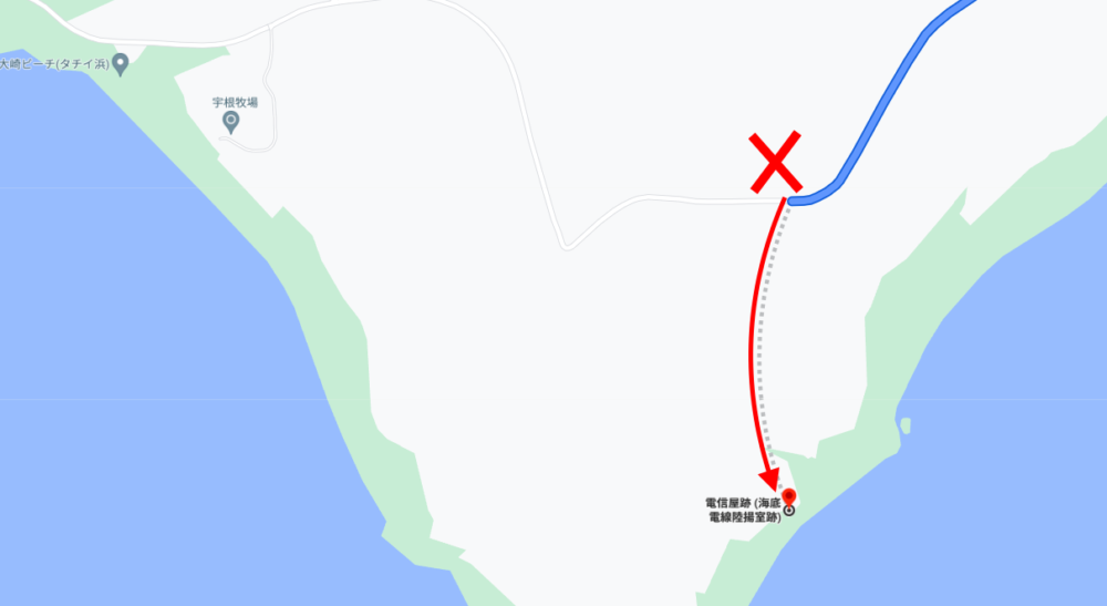 GoogleMAPで見た「電信屋」の間違ったアクセスルート