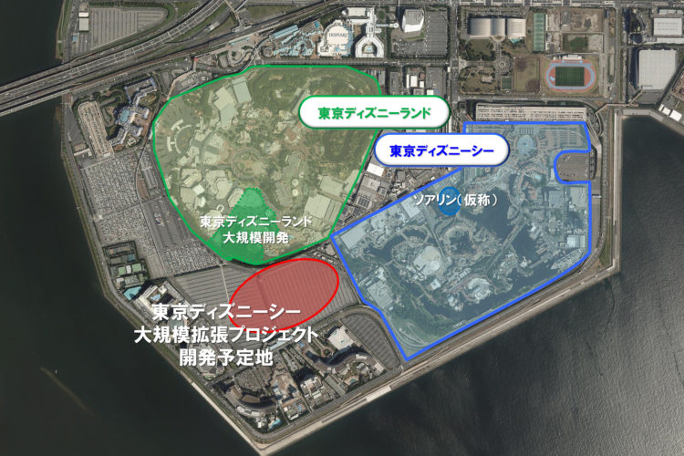 東京ディズニーリゾートの上から見下ろした全体の面積
