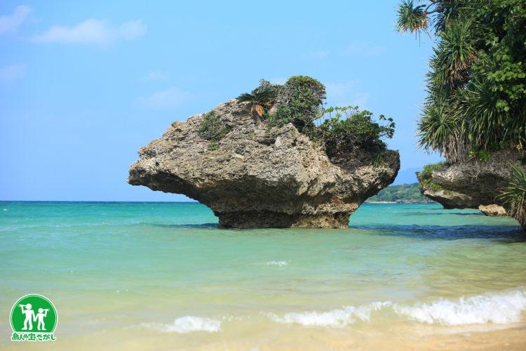 野底のキノコ岩