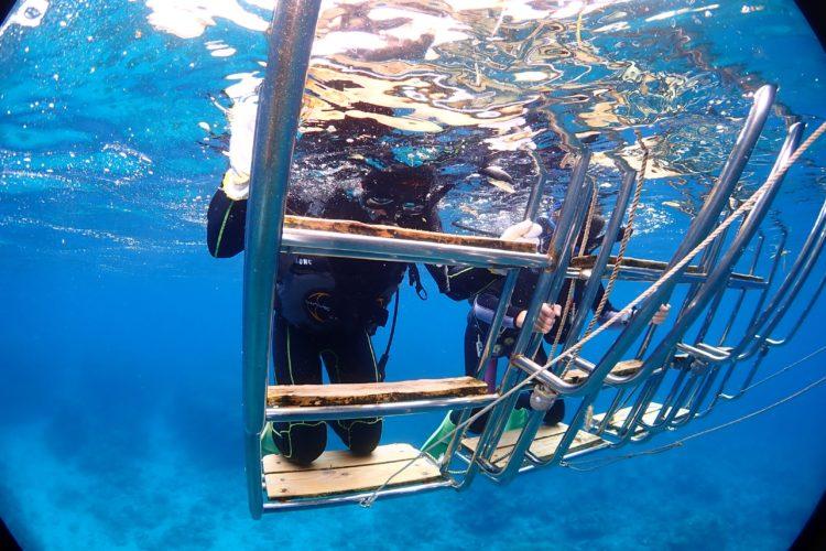 石垣島の体験ダイビングで息継ぎの練習をしている様子
