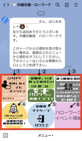 【図説】沖縄労働局 ハローワークLINE公式アカウント友だち追加画面