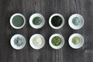 ユーグレナを使った各種ソース(左上から時計回り:ドレッシング・味噌・ジュレ・ディップ・からだにユーグレナ グリーンパウダー・葱&ユーグレナ・マヨネーズ・塩)